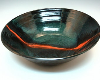Wide Black and Red Stoneware Bowl