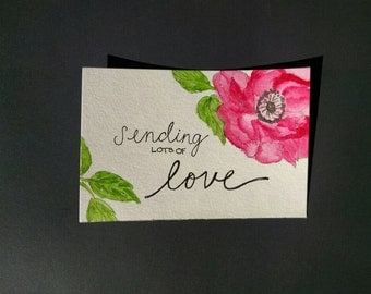 Watercolor Flower Postcard - Sending lots of Love