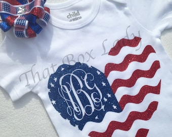 Memorial Day/ 4th of July Monogrammed Heart Flag Baby Girl Bodysuit in Red and Blue Glitter