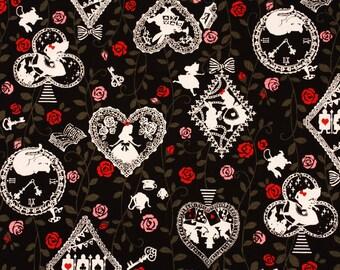 Alice in Wonderland & Rose Fabric made in Japan / Half Yard 18inch x 42inch
