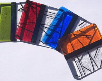 Multi-coloured fused glass coasters
