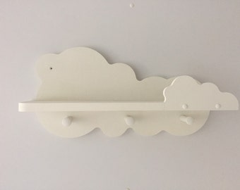 Nursery cloud shelf painted white with 3 shaker pegs 50cms wide new