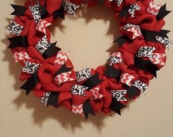 Wreath, Red Burlap