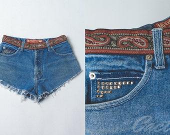 Vintage 1990's No Excuses low cut denim cut off shorts // jean shorts