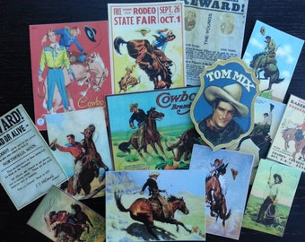 BB02B --  Lot of 14 VINTAGE Cowboys Die Cuts 4 Scrapbooking Free Shipping