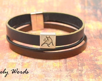 Bracelet Leather Brown and black bull man
