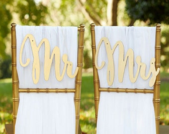 Gold or Silver Mr. & Mrs. Chair Backers- Wedding reception chair signs