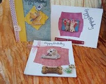 A set of three birthday cards