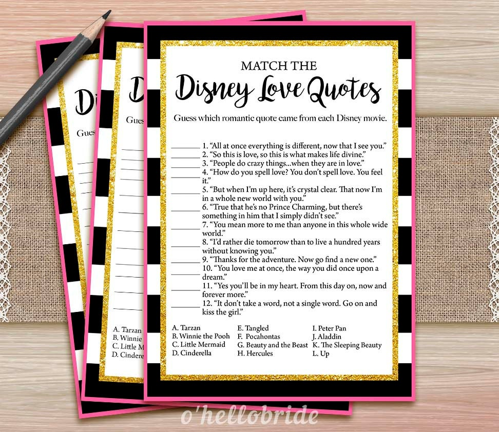 Disney Love Quotes: Disney Love Quotes Match Game Printable Black And White Pink