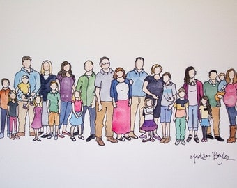 Custom Watercolor Family Portrait Illustration: Extended Family {20-30 people}