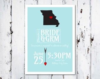 I Love My State Wedding Invitation
