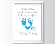 Instant Digital Download, Grandma, Mother's Day, Mother's Day Wall Art, Wall Art, Baby, Baby Footprints, Footprints, 8X10, High Quality