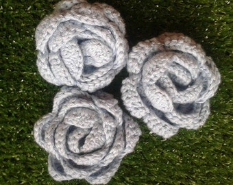 Blue Rose Knitted Brooch