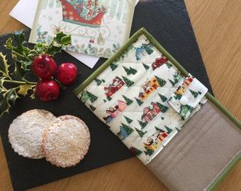 Notepad Cover DL, Retro Christmas, Festive Notebook Holder, Xmas To Do List Cover, Christmas Organiser, Holiday Notepad Holder, Xmas List
