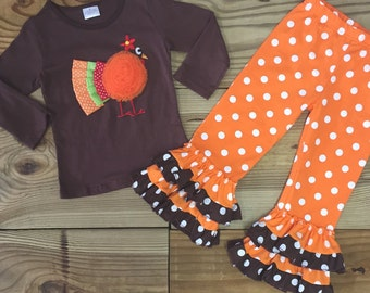 Baby Girl Outfit, Thanksgiving Turkey Applique, Polka Dot Flare Pants,  Boutique, Girl Clothes, Toddler Girls Outfit,