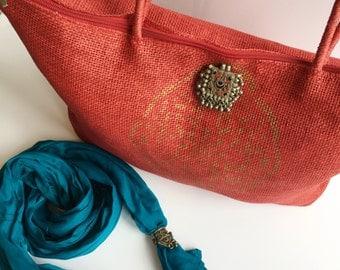 Red summer / beach shoulder bag