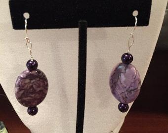 Purple bead earrings with sterling silver