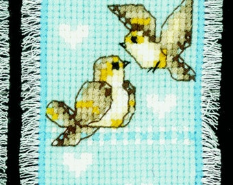 Vervaco Counted Cross Stitch Kit Blue Birds Bookmark PN-0143778