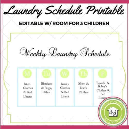 weekly laundry schedule printable