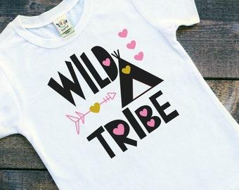 Toddler girls wild tribe teepee hearts tshirt shirt