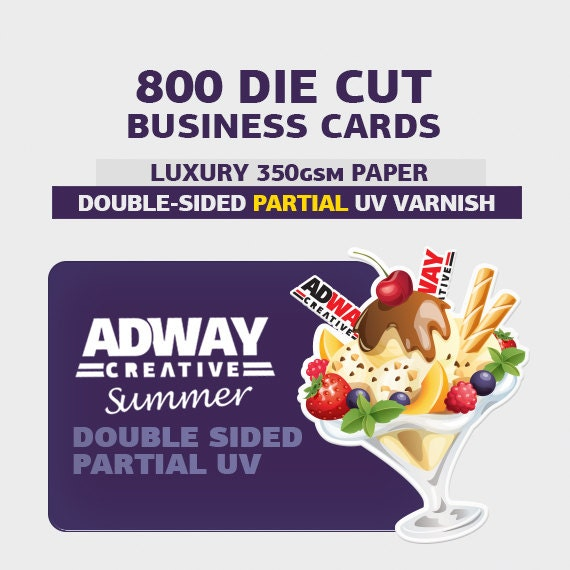 Items similar to 800pcs die cut business cards double for Spot varnish business cards