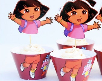 Dora The Explorer Inspired Cupcake Wrappers and Toppers-Set of 12