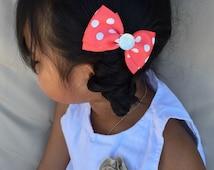set of 2 polka dots hair bows, ribbon hair bows, ponytail holder, hair clips, hair barrette, little girl hair set