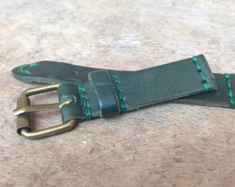 Handmade 20mm Leather Watch Strap with Waxed Thread