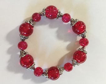 Handmade bracelet made with red glass beads