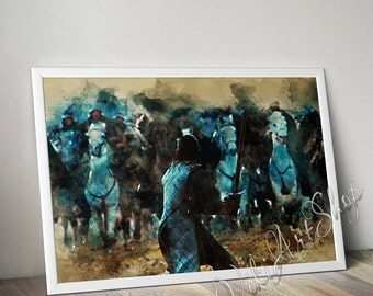 Jon Snow The Battle of the Bastards, Game Of Trones Watercolor Art Poster, Jon Snow Poster, Jon Snow Print, Painted Poster, gift for him