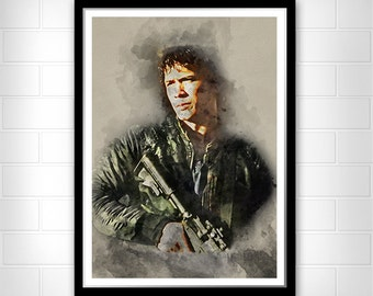 Bellamy Blake Poster Art, The 100 Watercolor Art poster print,  Bob Morley poster print, Textured paper or Cotton Canvas, Bellamy Blake