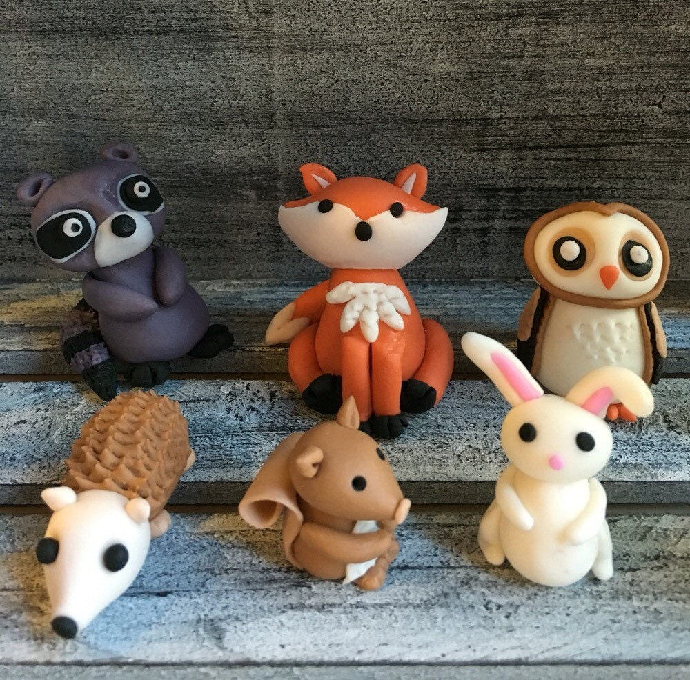 Cake Decoration Woodland Animals : Fondant woodland themed cake toppers