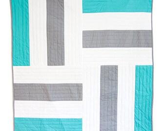 Grey & Jade Stripe Quilt