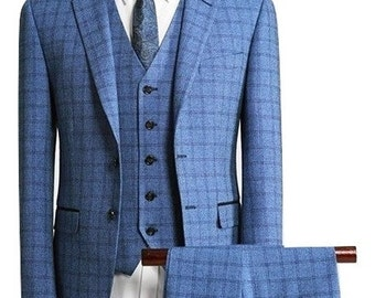 Custom Suit in Blue Check Wool
