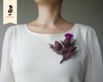 Thistle-Wool-Brooch-Pin-Flower