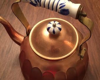 Vintage Copper Tea Pot ~ French Cottage Farm House Kettle