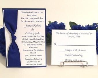 Dark Blue & White Wedding Invitation Set For Wedding/Birthdays/Holidays
