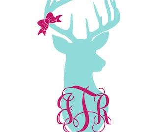 Deer decal, Deer Monogram sticker, Hunting decal, Vinyl Monogram Decal, Yeti Decal, Laptop Vinyl Decal, Circle Monogram, Monogram Sticker,
