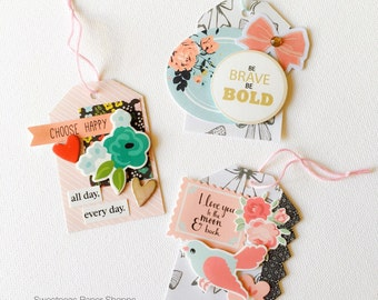 Set of 3 handmade gift tags, tags, swing tags, gift card, scrapbooking, snailmail.