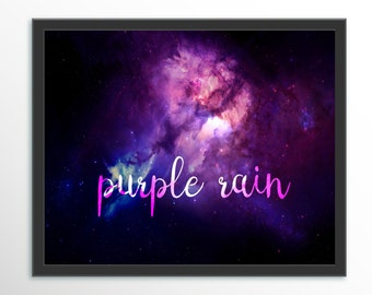Prince purple rain purple nebula print A3 or A4 high quality wall art