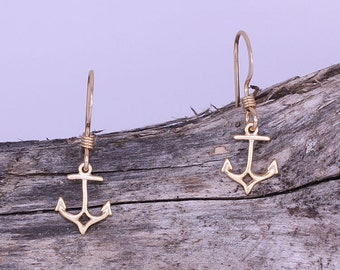 Dainty Gold Vermille Anchor Charm Earrings