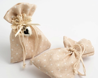 Pack of 10 Hessian Rustic Wedding Favour Bags / Pouches
