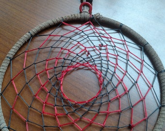 Red, black and natural color dreamcatcher