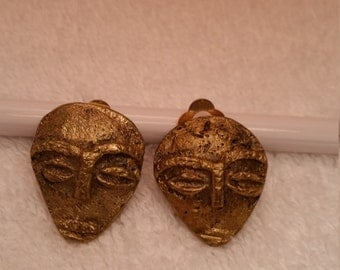 Vintage Brass African Face Clip-On Earrings