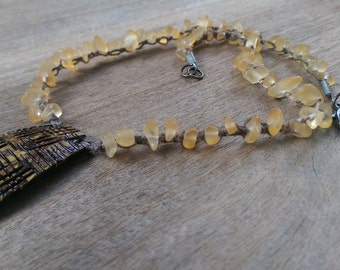 Coconut pendant and glass bead necklace, hemp necklace, beaded necklace, gifts for her, birthday gift,