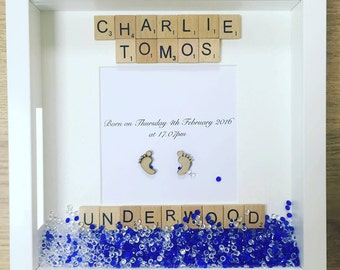 Personalised New Baby Boy Frame