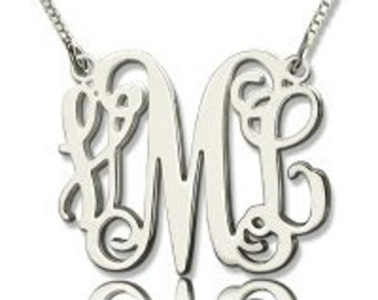 Silver Personalize monogrammed necklace