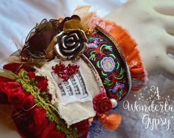 Gypsy cuff, Bohemian, Gypsy Tattered, Wearable Art, Vintage Inspired, Ruffled, Moulin Rouge , Romantic, Rosette, Hand Beaded, Festival Cuff