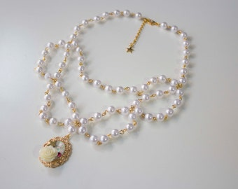 Pretty Princess necklace,  Lolita rococó ribbon jewelry kawaii cute pearl princess rose