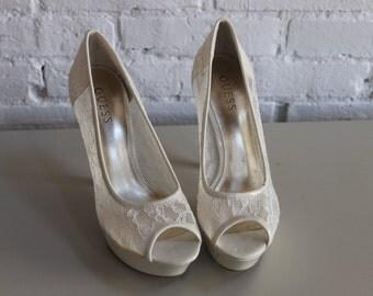 Ivory Lace Size 8 Peep Toe Heels